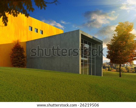 3D scene of modern minimalistic building in a beautyful autumn meadow