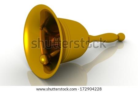 3D school bell on white 3d rendered - stock photo