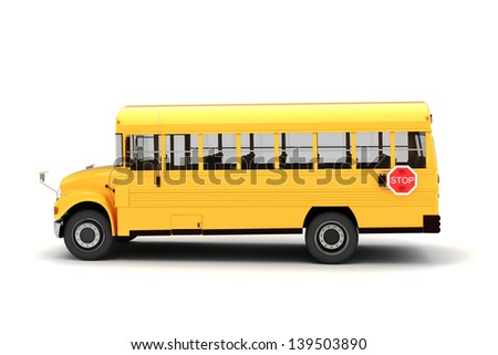 3d school bus on white background - stock photo