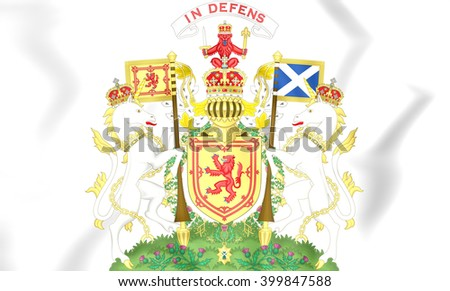 3D Scotland Royal Coat of Arms. Close Up.    - stock photo