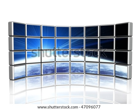 3d screen with image of space flare