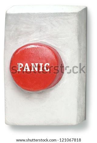 3D Sculpture of Panic Button - stock photo
