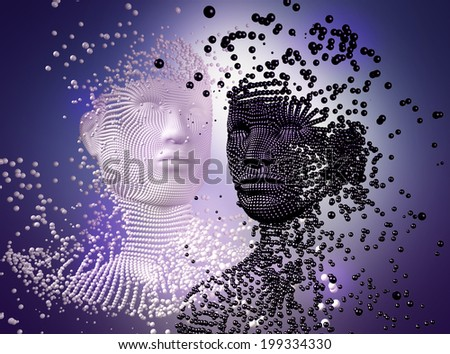3d sculpture of young couple, made of balls , concept for Love Story. - stock photo