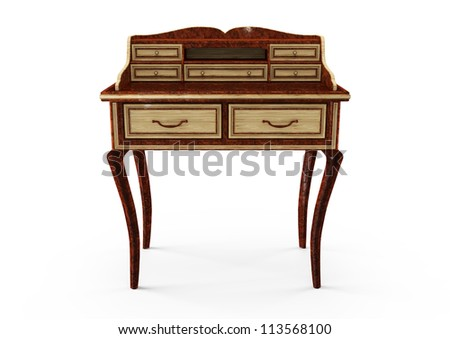 3d secretaire isolated on white - stock photo