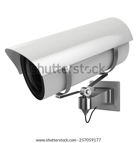 3d security camera on white background