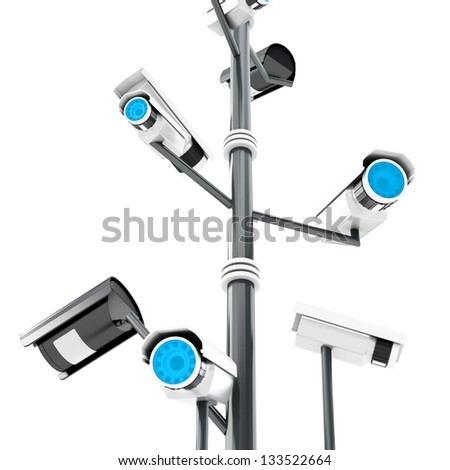 3d security cameras surveillance concept isolated on white background - stock photo