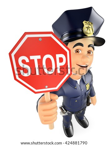 3d security forces people illustration. Policeman with a stop sign. Isolated white background. - stock photo