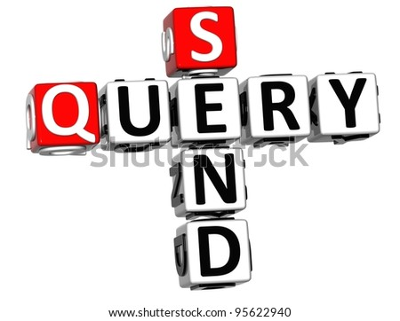 3D Send Query Crossword on white background - stock photo