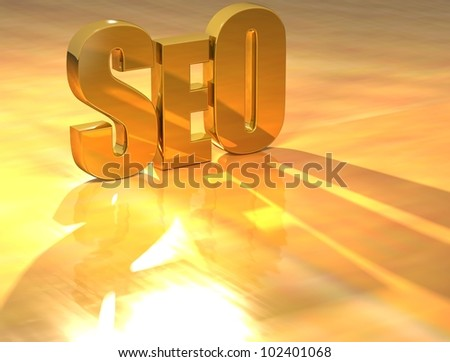 3D SEO Gold text over yellow background - stock photo