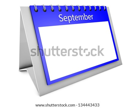 3d September blank calendar December isolated on white