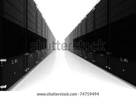 3d server - datacenter, on white - stock photo