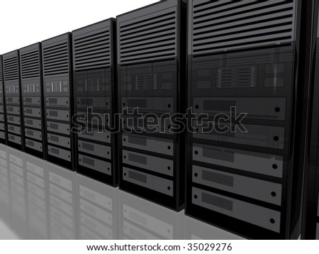 3D server farm computer illustration