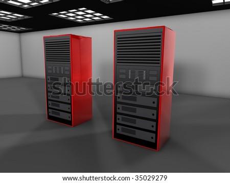 3D server farm computer illustration - stock photo
