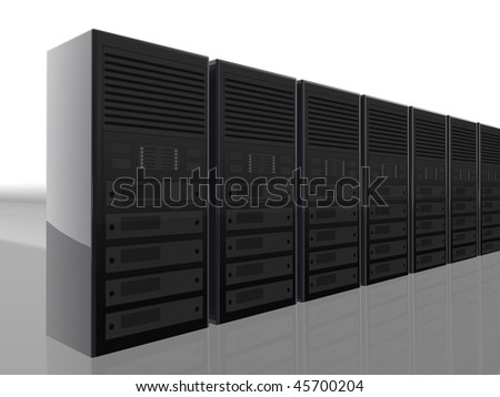 3D server farm computer illustration  design