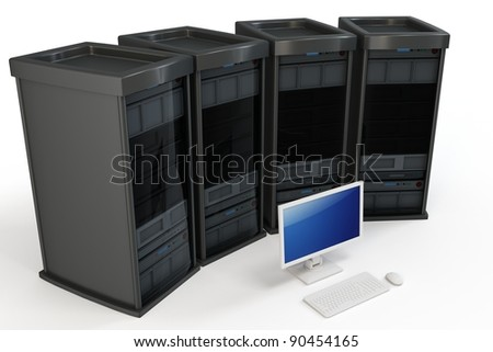 3d servers with computer terminal on white background