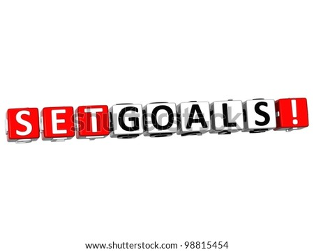3D Set Goals Cube text on white background - stock photo