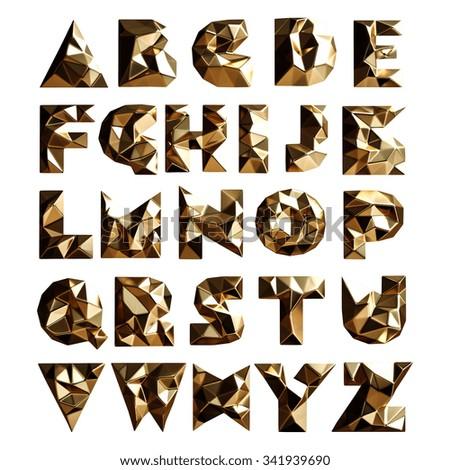3d set gold geometric shapes alphabet letters. High resolution - stock photo