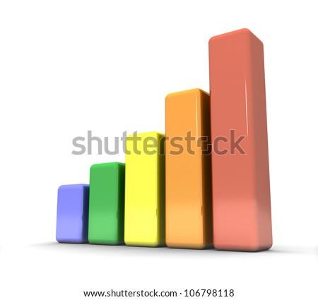 3d set of rainbow charts - stock photo