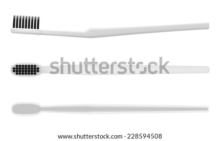 3D Set of 3 Toothbrush and Color Charcoal bristle ,isolated  - stock photo