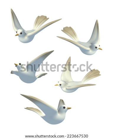 3D Set of white Pigeon dove, Isolated - stock photo