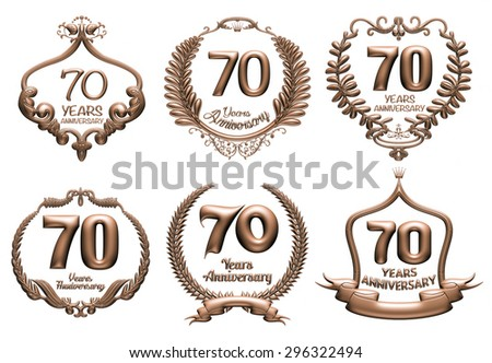 3D set of 70 years anniversary elements on isolated white background. - stock photo