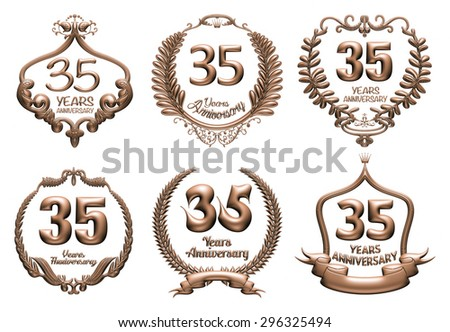 3D set of 35 years anniversary elements on isolated white background. - stock photo