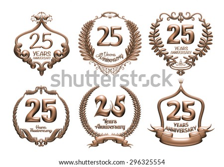 3D set of 25 years anniversary elements on isolated white background. - stock photo