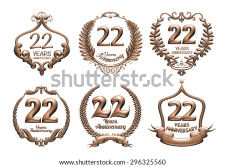 3D set of 22 years anniversary elements on isolated white background. - stock photo