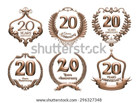 3D set of 20 years anniversary elements on isolated white background. - stock photo