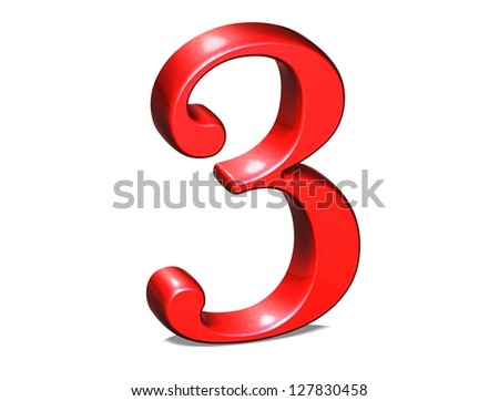 3D Set red number on white background - stock photo