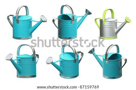 3d set watering can blue color on a white background, Isolated