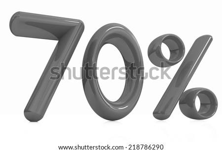 "3d ""70"" - Seventy percent on a white background - stock photo"