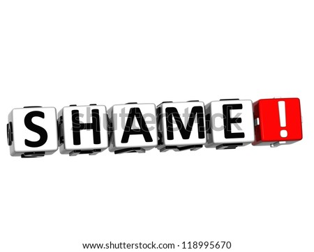 3D Shame Button Click Here Block Text over white background - stock photo