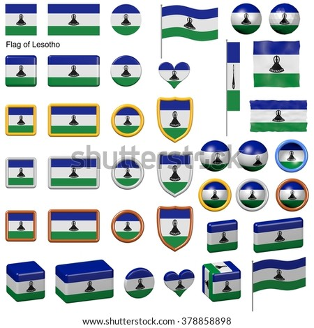 3d shapes containing the flag of Lesotho