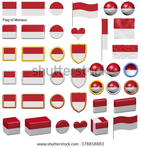 3d shapes containing the flag of Monaco
