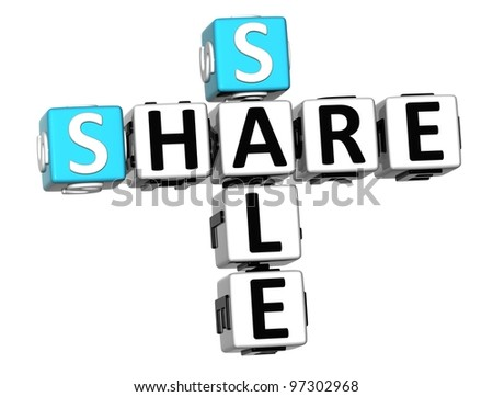 3D Share Price Sale Crossword text on white background