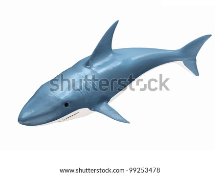 3d Shark isolated on white background - stock photo
