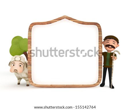 3d sheep and sheepman with wooden frame - stock photo