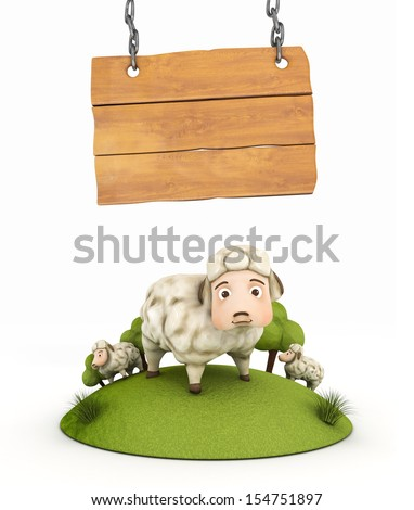 3d sheep with wooden frame - illustration isolated
