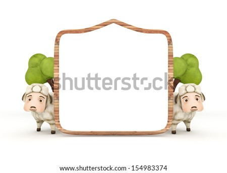 3d sheep with wooden frame isolated - stock photo