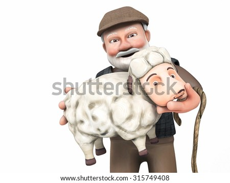 3d sheepman and sheep Sacrifice Feast  - stock photo