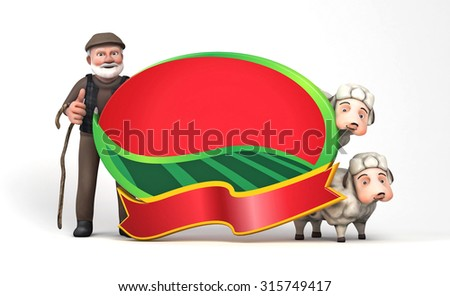 3d sheepman and sheep with board Sacrifice Feast