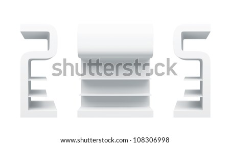 "3D shelves and shelf "" S Design "" on a white background. Isolated - stock photo"