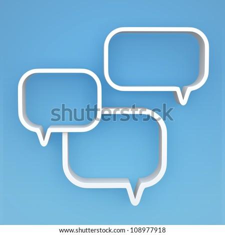 "3D shelves design form "" bubbles speech "" on background - stock photo"