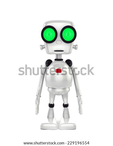 3d shinny and glossy robot on white background render