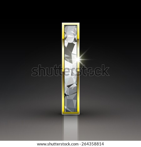 3d shiny diamond letter I isolated on black background - stock photo