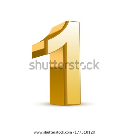 3d shiny golden number 1 on white background - stock photo