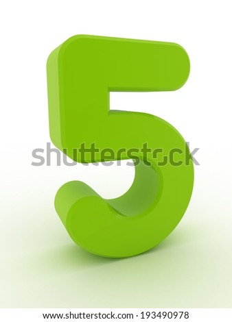 3d shiny green number collection - 5 - stock photo