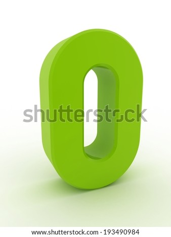 3d shiny green number collection - 0 - stock photo