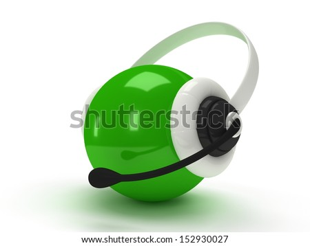 3d shiny green orb with headset isolated over white